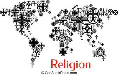 Religionsweltkarte mit christlichen Kreuzsymbolen
