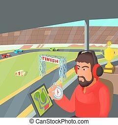 Renn-Coach-Konzept, Cartoon-Stil