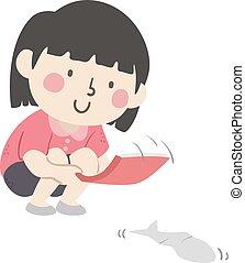 rennen, kind, fische, m�dchen, abbildung, papier