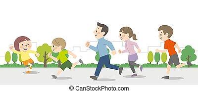 rennender , draußen, abbildung, leute