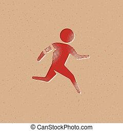 rennender , ikone, -, halftone, athlet