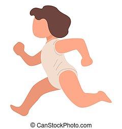 rennender , kleinkind, vektor, kind, klein, bewegung, kind
