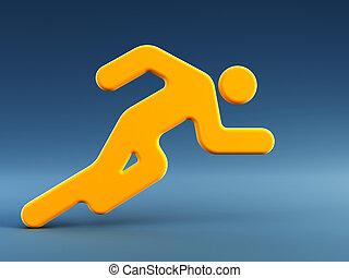 rennender , symbol, mann