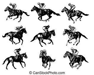 Rennpferde und Jockeys.