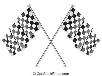 rennsport, checkered, flaggen, appretur