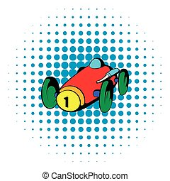 Rennwagen-Ikone, Comics-Stil.