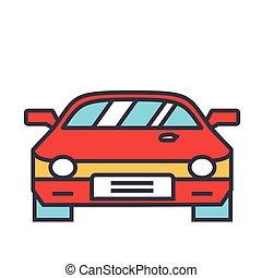 Rennwagen, Rennkonzept. Line-Vektor-Icon. Bearbeitender Schlaganfall. Flat lineare Illustration isoliert auf weißem Hintergrund