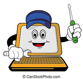Reparierter Computer-Cartoon.