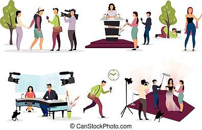 reporter, interviewen, karikatur, journalist, fotograf, journalismus, paparazzi, kamera., set., drücken, characters., mikrophon, kameramann, videographer, wohnung, interviewer, abbildung, vektor