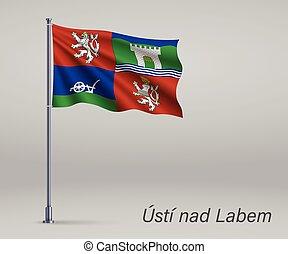 republik, usti, fahne, flagpole., tschechisch, nad, schablone, -, labem, gebiet, unabhängigkeit, plakat, design, winkende , tag