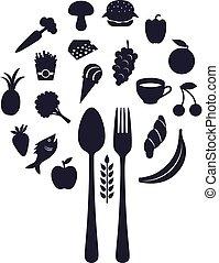 Restaurant Icons in Form von Kugel mit Gabel und Löffel, Vektor Illustration.