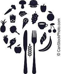 Restaurant-Icons in Form von Kugel mit Gabel und Messer, Vektorgrafik.