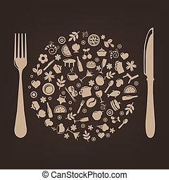 Restaurant-Ikonen in Form einer Kugel mit Stöpsel und Messer