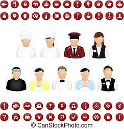 Restaurant-Leute Ikonen und Karten Ikons Vektorset