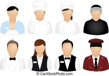 Restaurant-Leute-Ikonen.