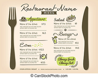 Restaurant placemat menu design template layout.