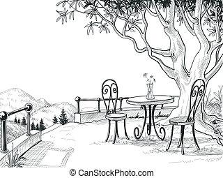 Restaurantterrasse Sketch.