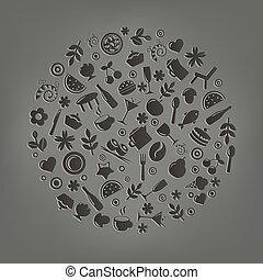 Restaurantvektor Ikonen in Form von Sphäre