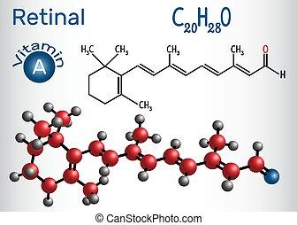 Retinal (Retinaldehyd) ist Vitamin A. Strukturelle chemische Formel und Molekülmodell.