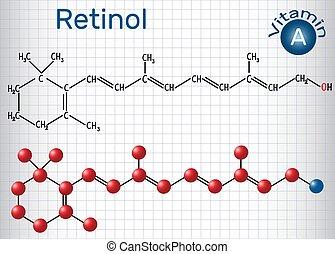 Retinol, Vitamin A, ist in Nahrung und wird als Nahrungsergänzungsmittel verwendet. Strukturelle chemische Formel und Molekülmodell. Papierschere in einem Käfig