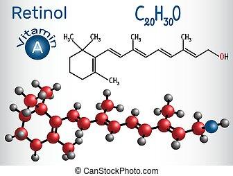 Retinol, Vitamin A, ist in Nahrung und wird als Nahrungsergänzungsmittel verwendet. Strukturelle chemische Formel und Molekülmodell