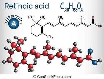 Retinosäure ist ein Stoffwechsel von Vitamin A (Retinol) . Strukturelle chemische Formel und Molekülmodell