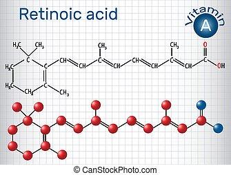 Retinosäure ist ein Stoffwechsel von Vitamin A (Retinol) . Strukturelle chemische Formel und Molekülmodell. Papierschere in einem Käfig.
