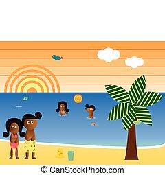 Retro Beach afroamerikanische Familie