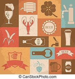 Retro-Bier-Ikonen eingestellt. Vector Illustration