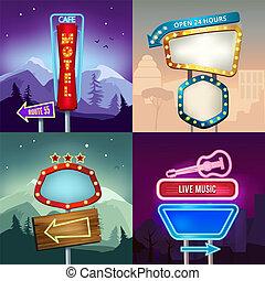 Retro-Bilder der Landschaft mit Beleuchtung Neon Banner für Werbung. Board für Motel und Shop