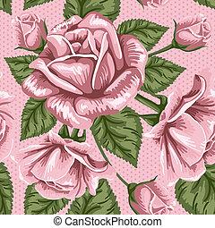 Retro-Blume nahtlos. Rosen