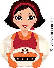 Retro-Cartoon-Frau serviert Thanksgiving-Essen