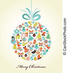 Retro Christmas Background mit dem Xmas-Ball