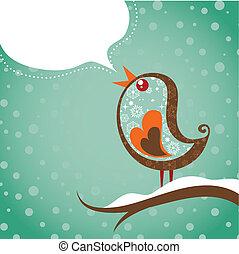 Retro Christmas Background mit Vogel