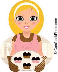 Retro Cooking blonde Frau serviert süßes Essen ( rosa & braun)