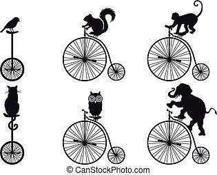 Retro Fahrrad mit Tieren, Vektor