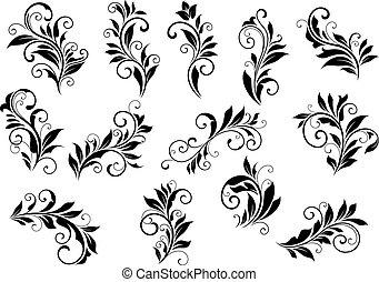 Retro florale Motive und foliate vignettes set.