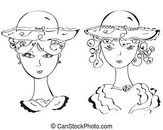 Retro-Frau mit Hut