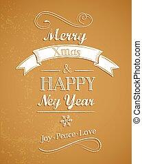retro, grüßen karte, hintergrund, schablone, weihnachten, fröhlich, goldenes