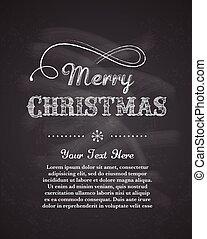 retro, grüßen karte, hintergrund, schablone, weihnachten, fröhlich, tafel