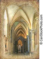 Retro-Grunge-Effekt auf Kathedralenavenbild