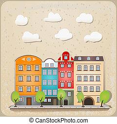Retro-Häuser als klassische städtische Illustration