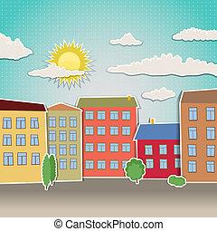 Retro Häuser als städtische Illustration