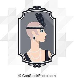 Retro-Hintergrund mit einem wunderschönen Mädchen aus dem Stil von 1920.