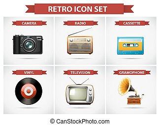 Retro Icon mit verschiedenen Objekten.
