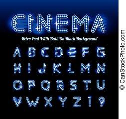 Retro-Kino-Schriftschrift