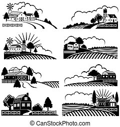 Retro ländliche Landschaften mit landwirtschaftlichen Gebäuden im Feld. Vector Vintage Holzschnittkunst