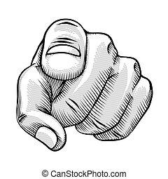 Retro Linienzeichnung eines Zeigefingers.