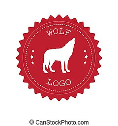 retro, logo, rotes , vektor, silhouette, runder , wolf