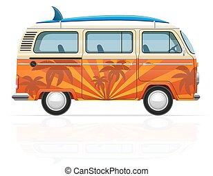 Retro minivan mit einer Surfboard Vektorgrafik.